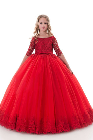 2019 New Arrival Scoop Ball Gown Flower Girl Dresses Mid-Length Sleeves Tulle