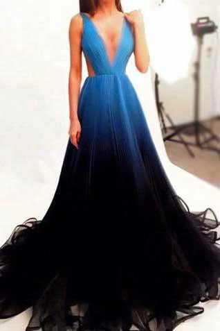 New Style Black V-Neck New Arrival Long Gradient Color Tulle Long Prom Dresses JS829