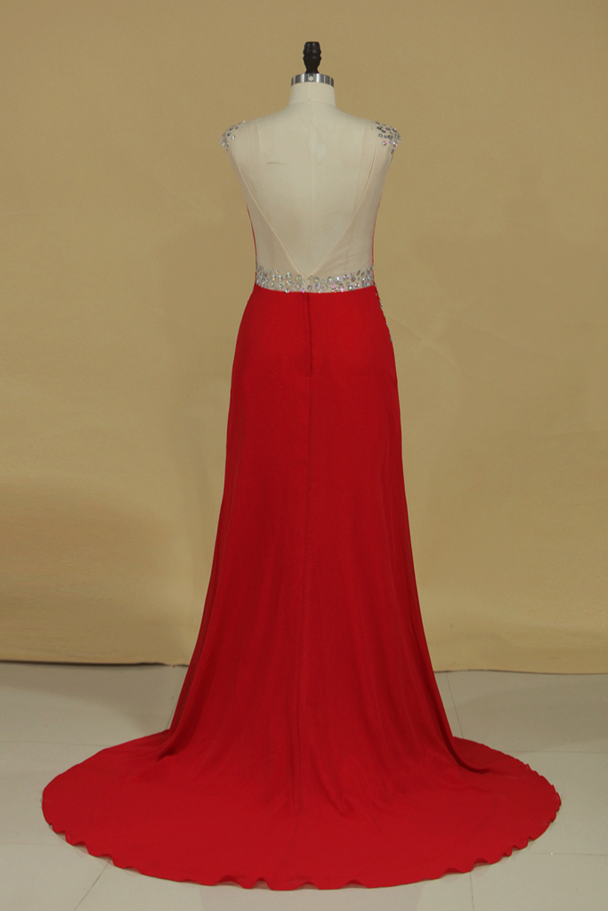 Scoop Sheath Prom Dresses Open Back Chiffon With Beading