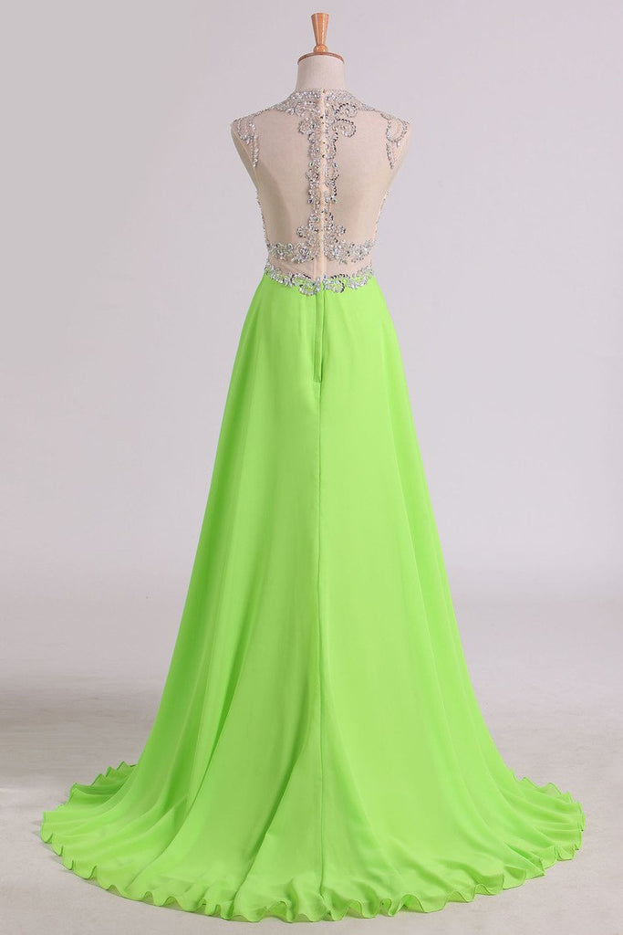A Line Beaded Bodice Prom Dresses Scoop Chiffon & Tulle With Slit