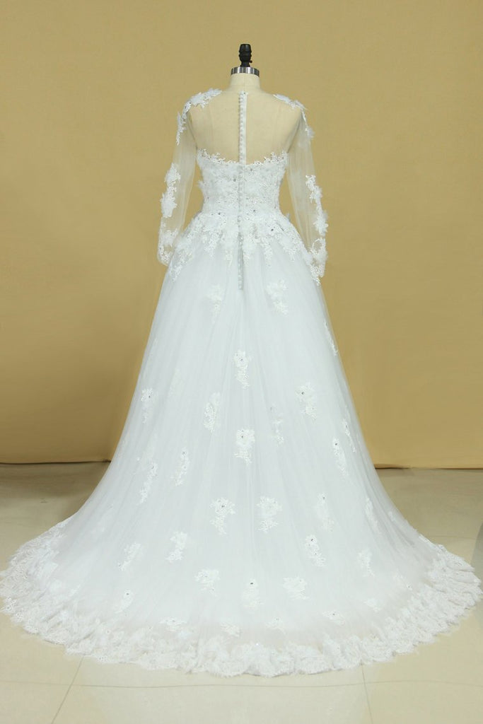 Hot Long Sleeves Wedding Dresses Scoop Tulle With Applique
