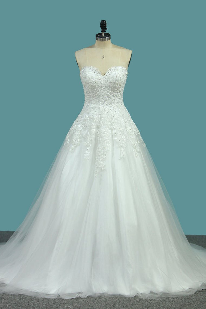 Sweetheart Wedding Dresses A Line Tulle With Applique Sweep Train