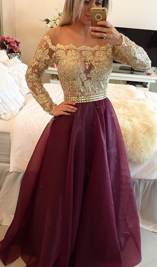 Burgundy Princess Lace Bodice Long Sleeves A-Line Organza Dark Red Evening Dresses JS14