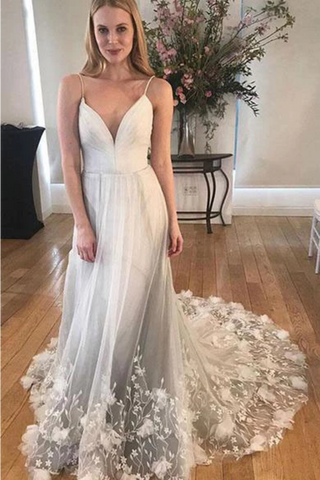 Unique Spaghetti Strap Long Cheap Tulle Prom/Wedding Dresses With Applique