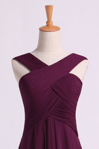 2019 Bridesmaid Dresses Pleated Bodice V-Neck  A Line Knee Length Chiffon