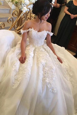 2019 New Arrival Wedding Dresses Ball Gown Tulle With Appliques Off The Shoulder