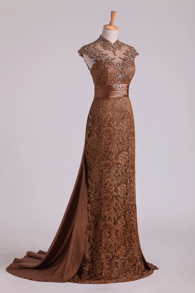Hot High Neck Evening Dresses Column With Beading Lace Sweep Train
