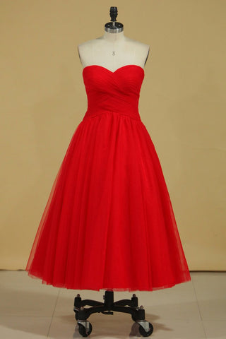 Red Sweetheart Prom Dresses A Line Tulle With Ruffles Ankle Length Size 8