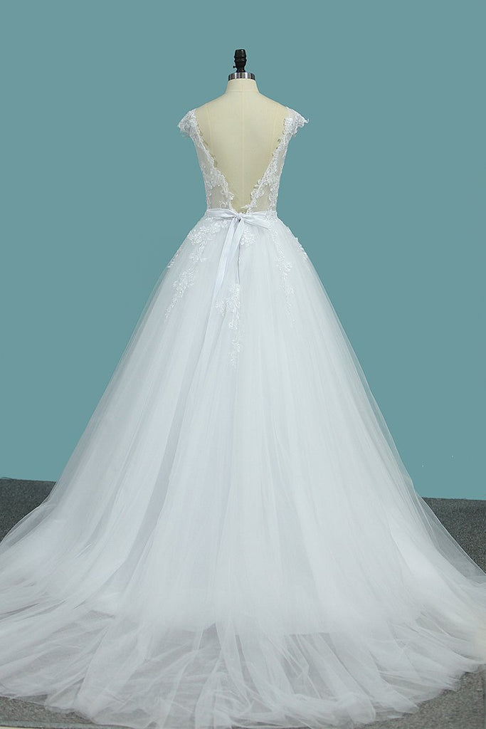 Scoop Open Back Wedding Dresses Tulle With Applique A Line Chapel Train