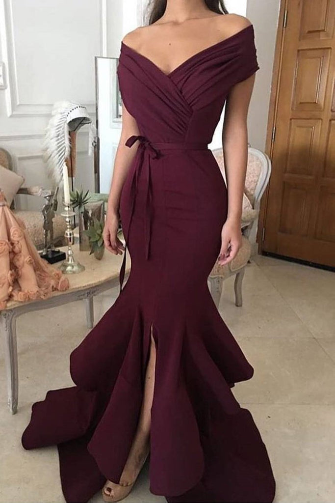 Off The Shoulder Evening Dresses Mermaid Satin With Sash And Slit Sweep Train