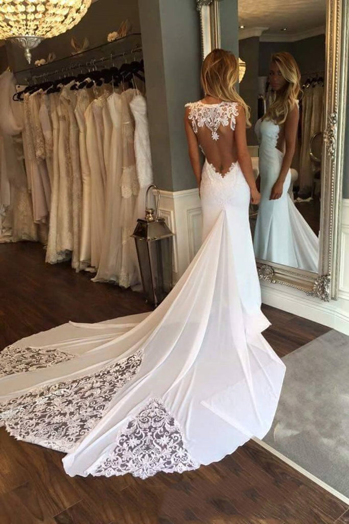 New Arrival Scoop Chiffon Wedding Dresses With Applique Mermaid