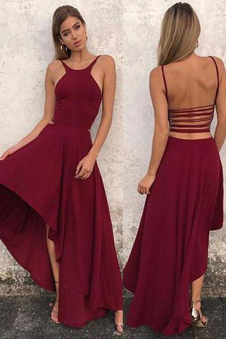 Unique A Line Burgundy High Low Sleeveless Backless Prom Dresses, Cheap Evening Dresses SJS15450