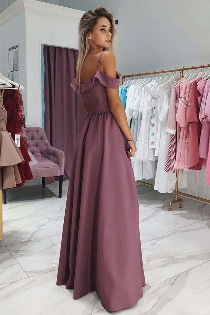 Pretty Off The Shoulder Spaghetti Straps Long Elegant Prom Dresses With Split