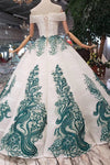 Prom Dress Off The Shoulder Floor Length Beads&Sequins Appliques Lace Up Back