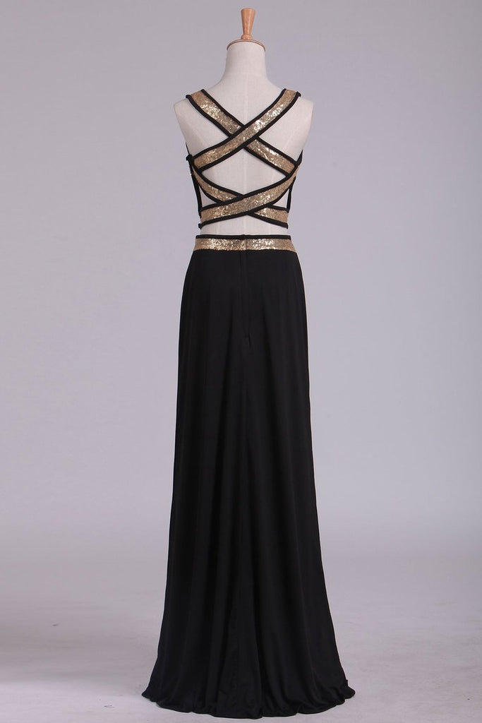 Black Open Back Two Pieces Sheath Prom Dresses Spandex With Beads And Slit