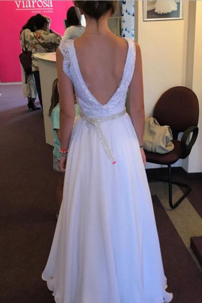 Chiffon Straps A Line Wedding Dresses With Applique And Beads Floor Length