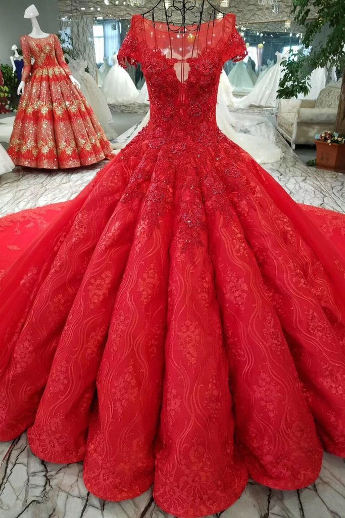 Red Ball Gown Luxury Wedding Dresses Bateau Cap Sleeves Royal Train Lace