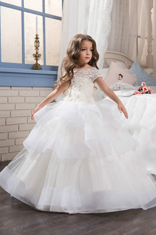 2019 Flower Girl Dresses Ball Gown Scoop Short Sleeves Tulle With Handmade Flowers