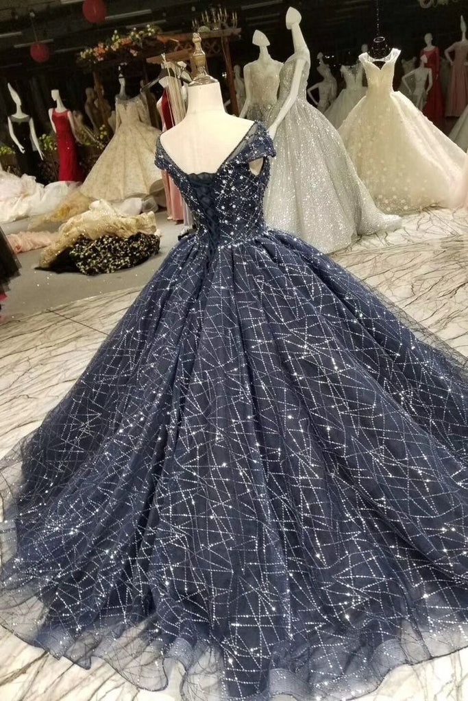 Prom Dress Ball Gown Bateau Cap Sleeves Dark Navy Lace Corset Back