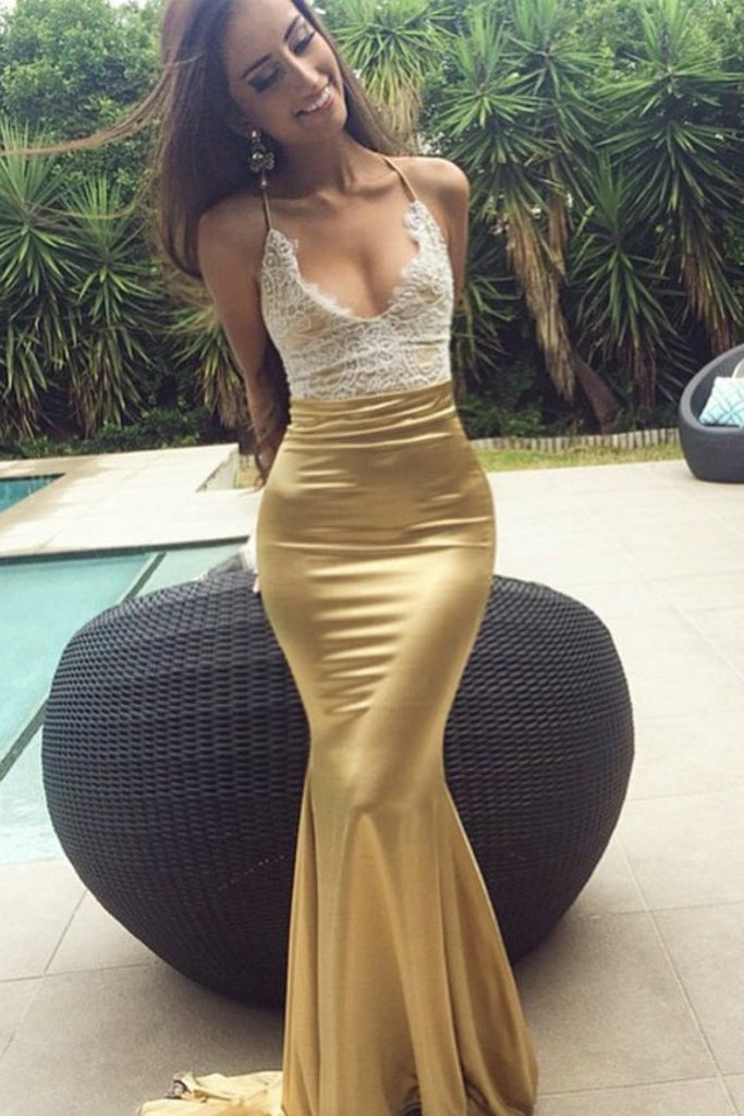 Prom Dresses Mermaid Spaghetti Straps Elastic Satin With Applique Open Back