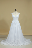 A Line Off The Shoulder Tulle With Applique And Sash Wedding Dresses