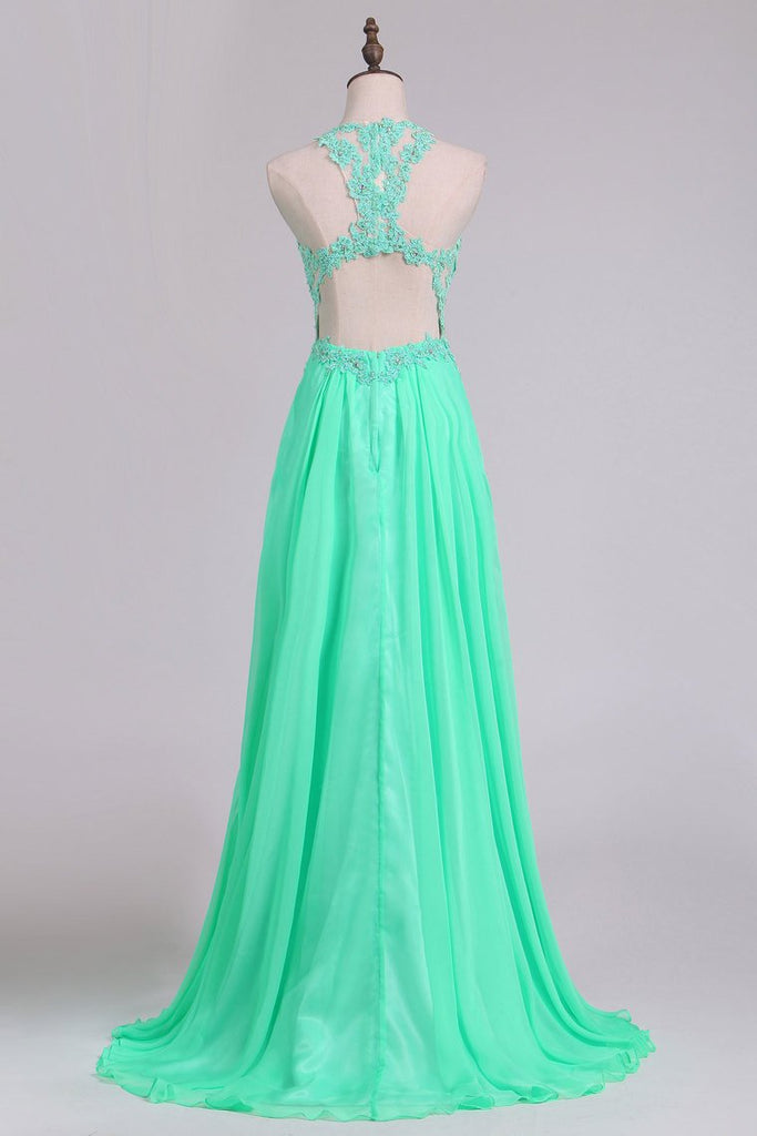 Sexy Open Back Scoop Prom Dresses A Line Chiffon With Applique Floor Length
