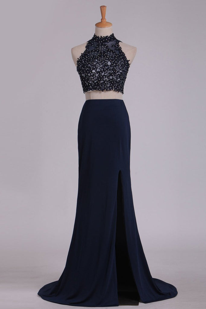 Two-Piece High Neck Open Back Sheath Prom Dresses Spandex With Beads And Applique