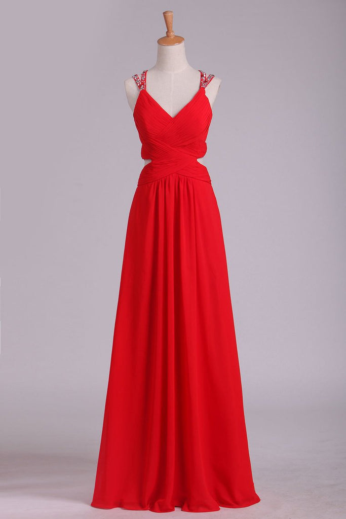 Red A Line Prom Dresses Spaghetti Straps Open Back With Ruffles And Beads Chiffon