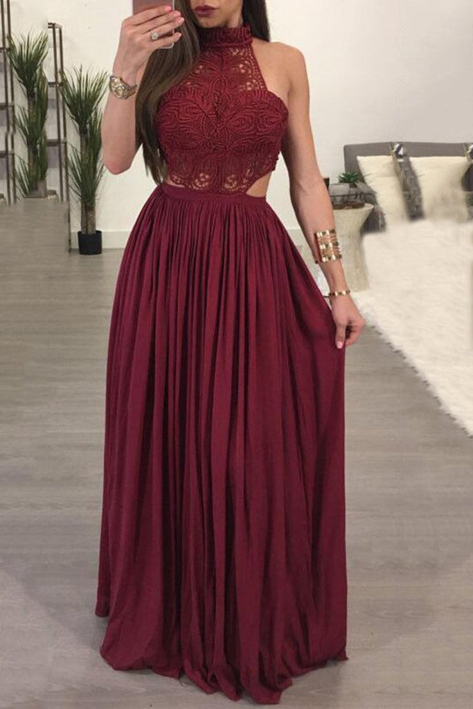 High Neck A Line Chiffon & Lace Floor Length Prom Dresses