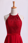Scoop Neckline Princess Chiffon&Lace Dress Burgundy/Maroon With Sash Knee Length