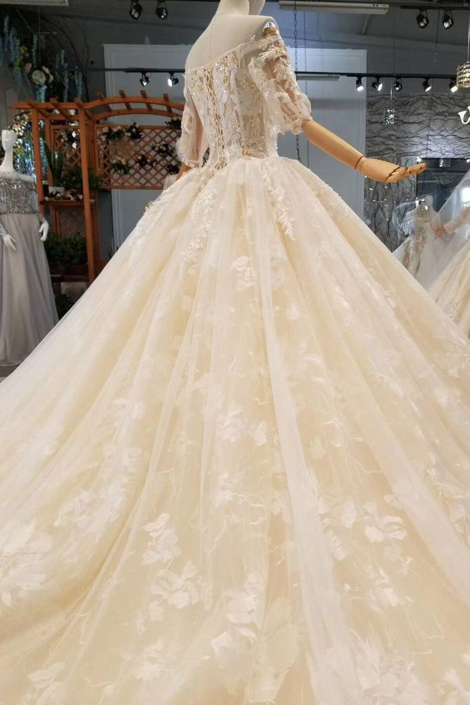 Luxury Wedding Dresses Off-The-Shoulder Top Quality Lace Long Train Half Sleeves Lace Up Back