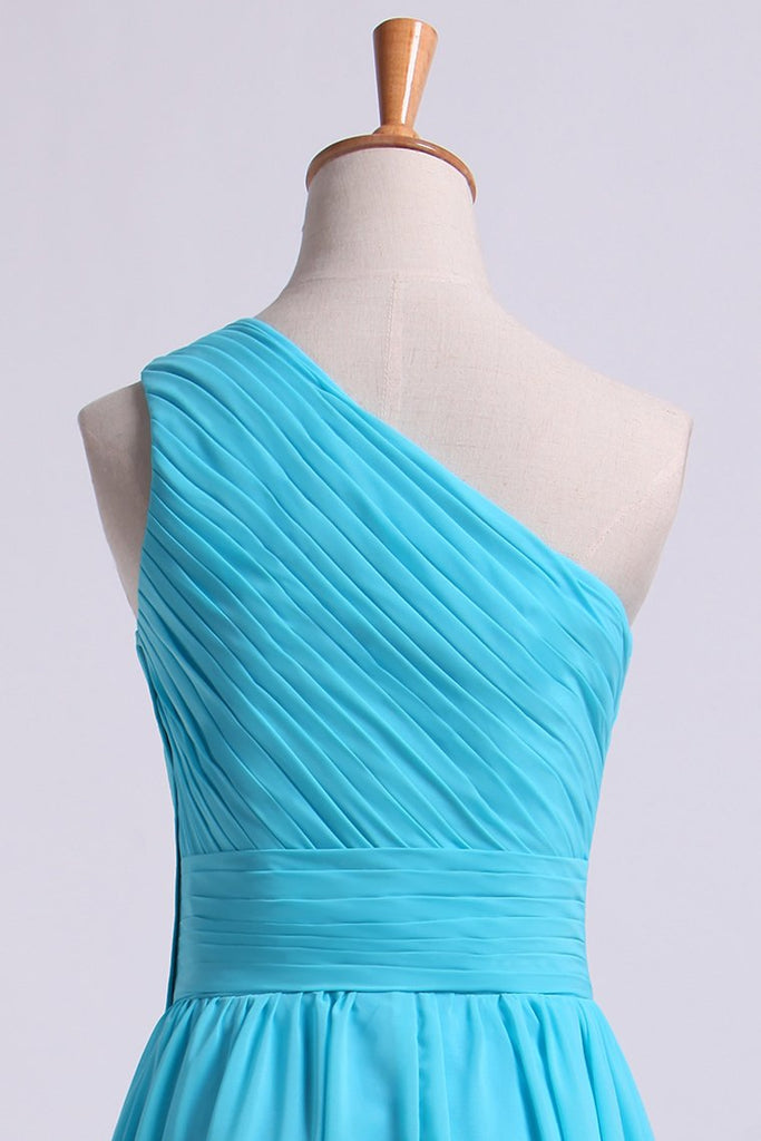 One Shoulder Bridesmaid Dresses A Line Knee Length Chiffon With Ruffle