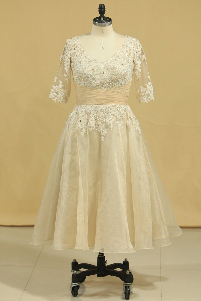 Wedding Dresses A Line V Neck Half Sleeves Plus Size With Applique & Beads Organza