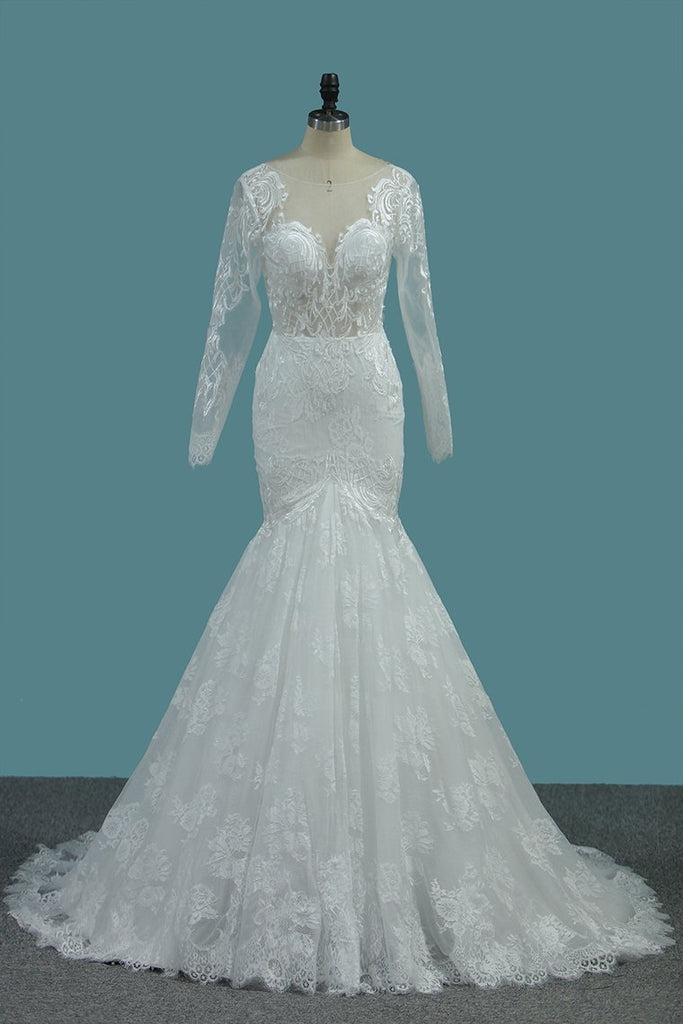Tulle Mermaid Wedding Dresses Scoop Long Sleeves With Applique
