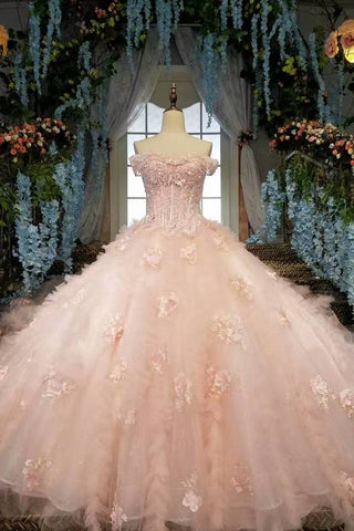 2019 Fantastic Pink Wedding Dresses Lace Up With Beads And Handmade Flowers Ball Gown