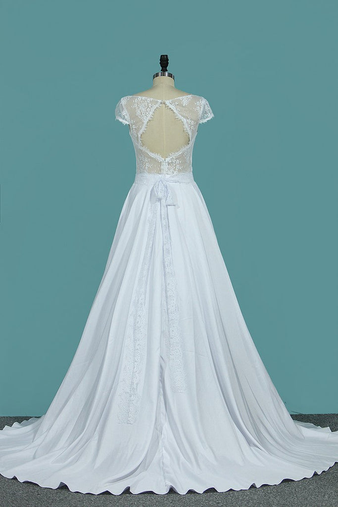 A Line Wedding Dresses Sexy Open Back Scoop Cap Sleeves Elastic Satin & Lace