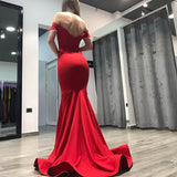 Mermaid Red Off the Shoulder Red Long Prom Dresses Backless Evening Dresses
