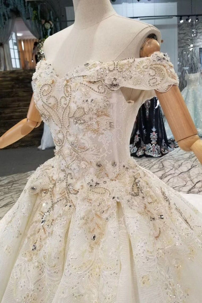 Off-The-Shoulder Ball Gown Lace Lace Up Back Royal Train Wedding Dress With Beading