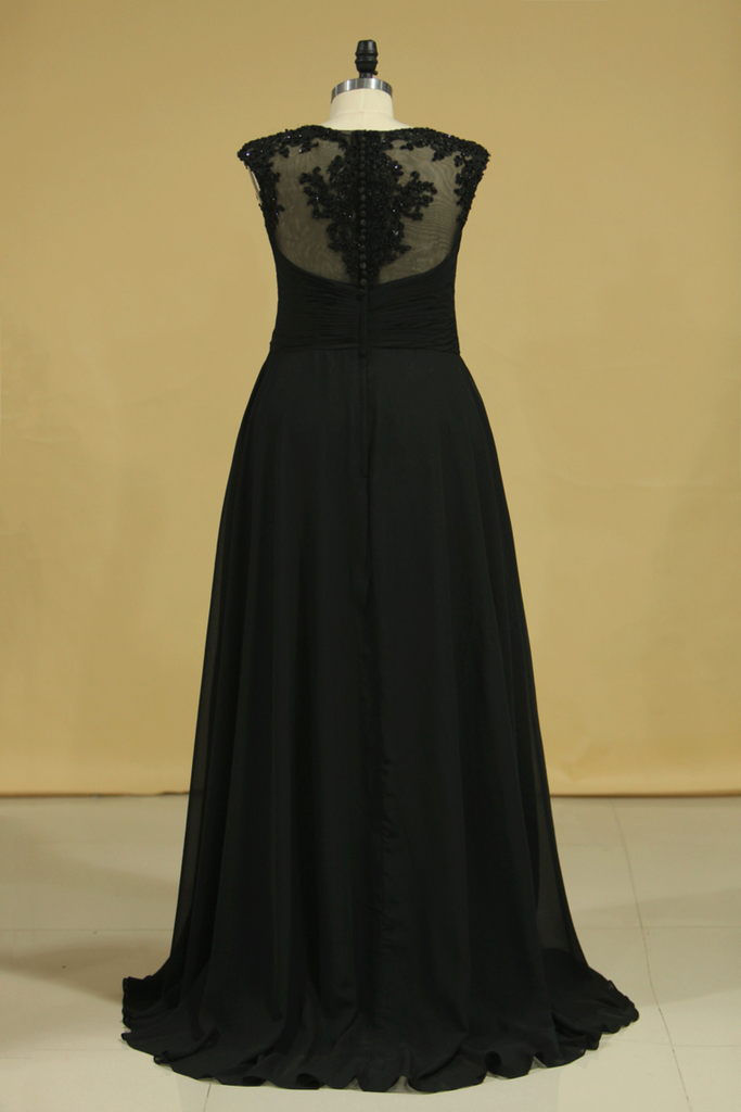 Plus Size Black Evening Dresses A Line Scoop Cap Sleeves Chiffon With Applique And Beads