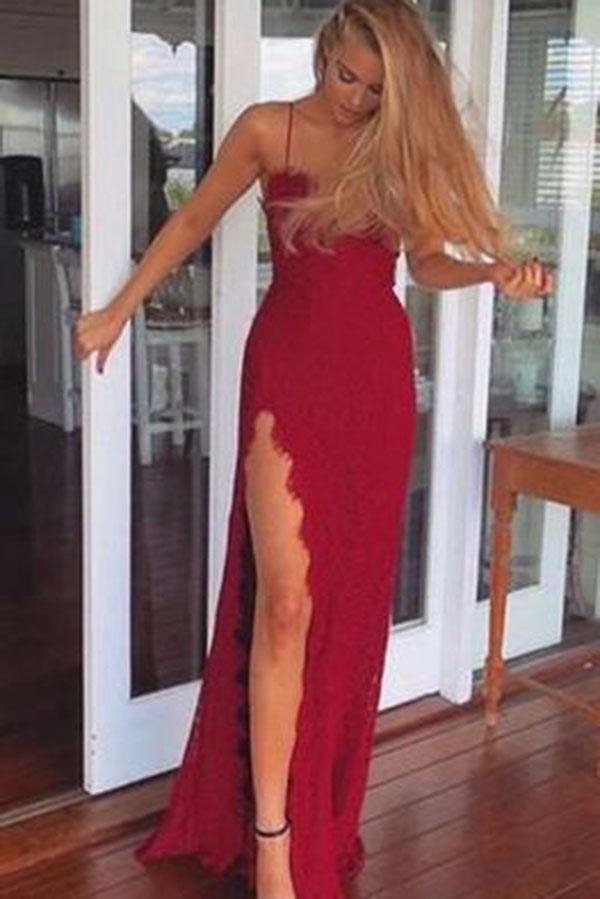 A-Line Red Long Sheath Lace Spaghetti Straps Split Front Sweetheart Prom Dresses JS481