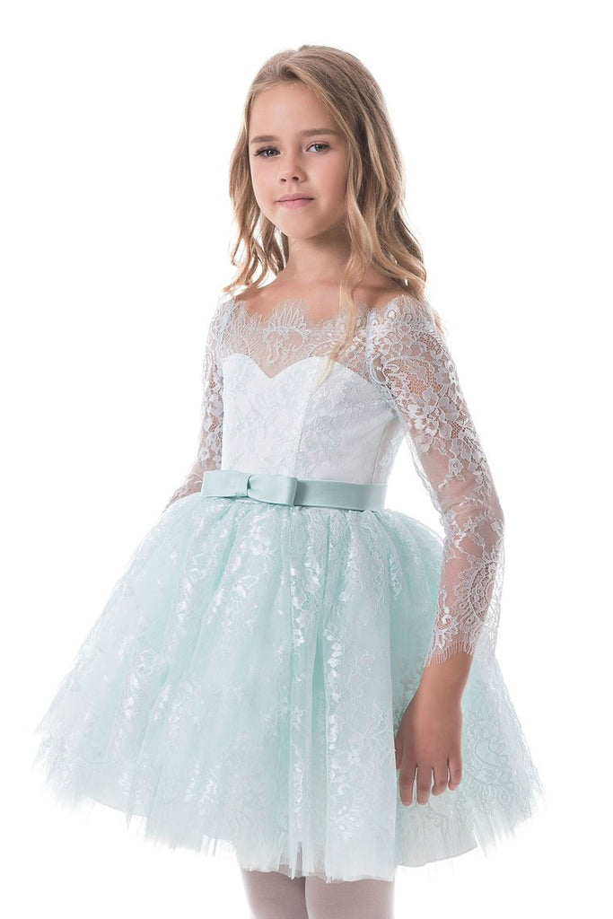 Flower Girl Dresses A Line Boat Neck Long Sleeves Lace Short/Mini