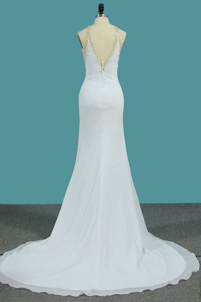 Chiffon Scoop Open Back Mermaid Wedding Dresses With Beading