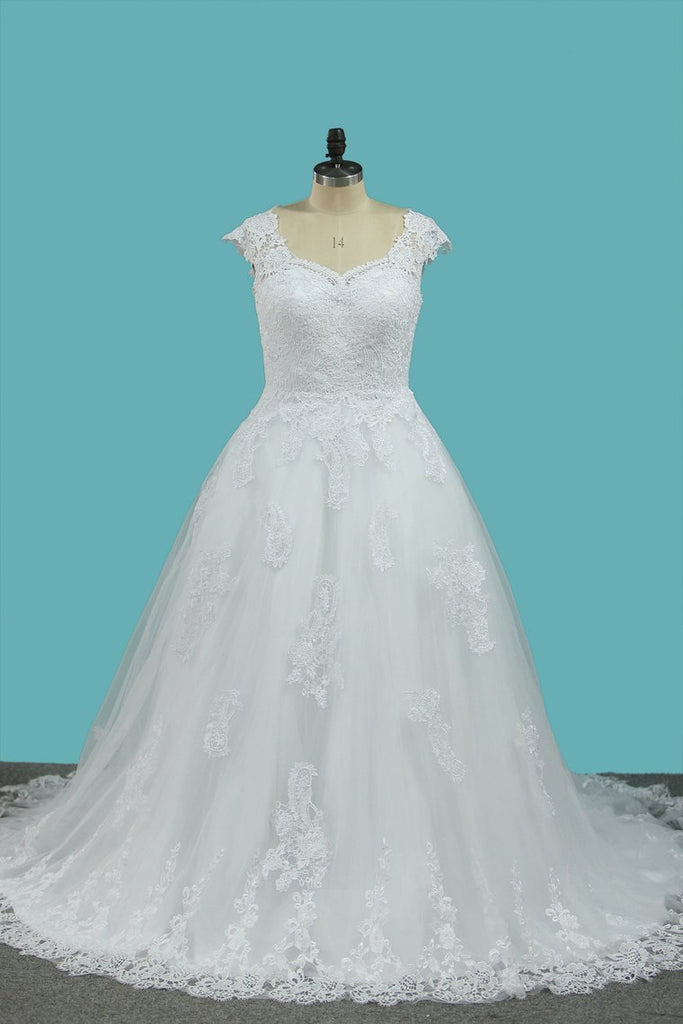 A Line Straps Wedding Dresses Tulle With Applique Sweep Train
