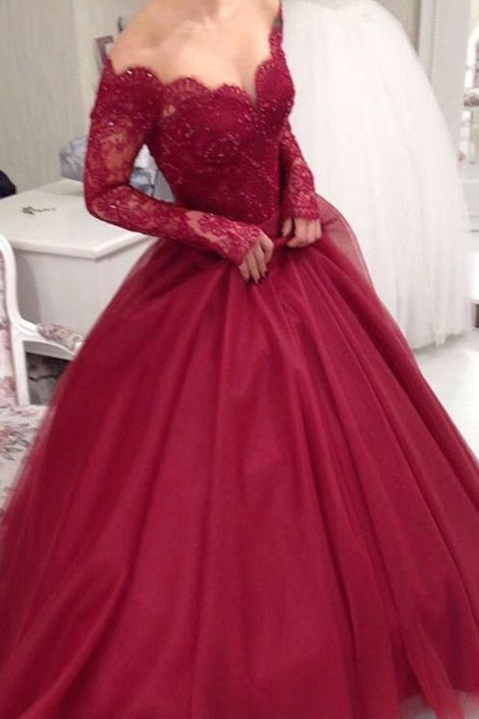 Long Sleeves Tulle Prom Dresses A Line With Applique And Beads