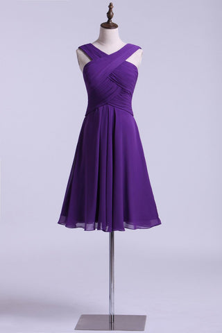 V-Neck Bridesmaid Dresses A Line Chiffon With Ruffles Knee Length