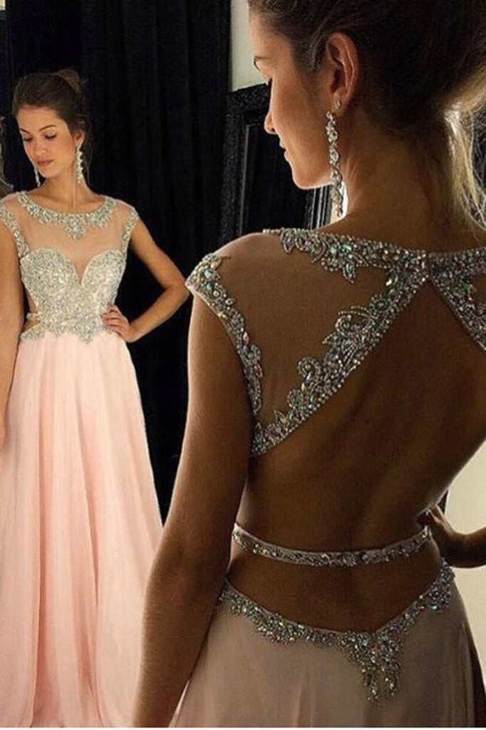Cap Sleeves Prom Dresses Scoop A Line Chiffon With Beading Floor Length