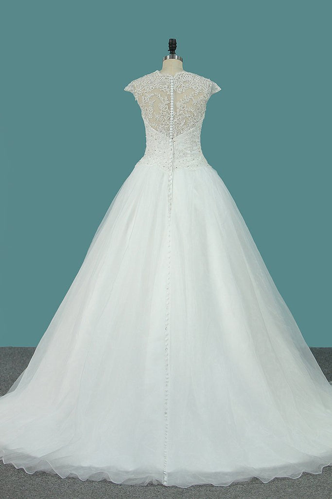 Wedding Dresses Scoop A Line Organza With Applique And Beads