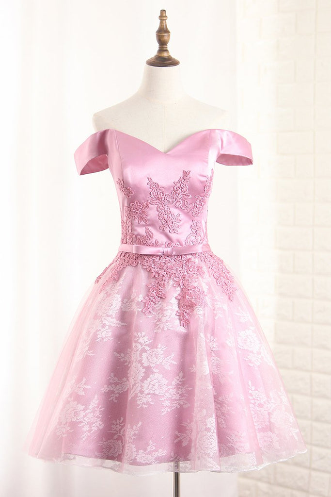 A Line Lace Homecoming Dresses Off The Shoulder With Applique And Sash