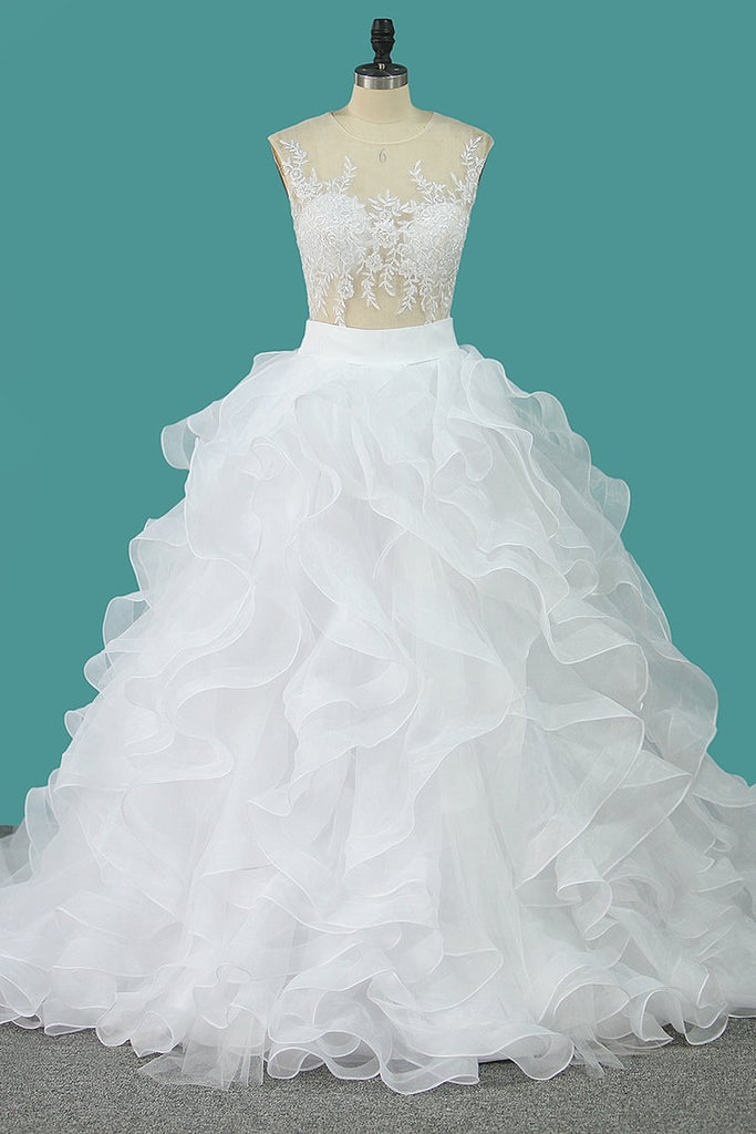 Scoop Tulle With Applique Detachable Wedding Dresses  Zipper Up