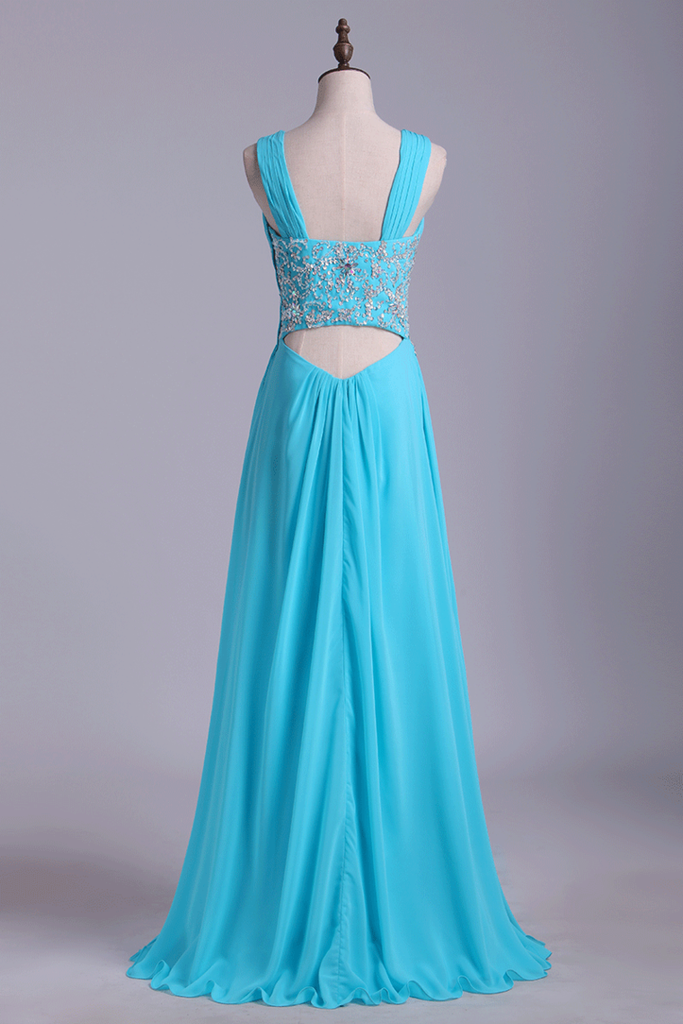 Straps A Line Prom Dresses Chiffon With Applique & Ruffles Floor Length